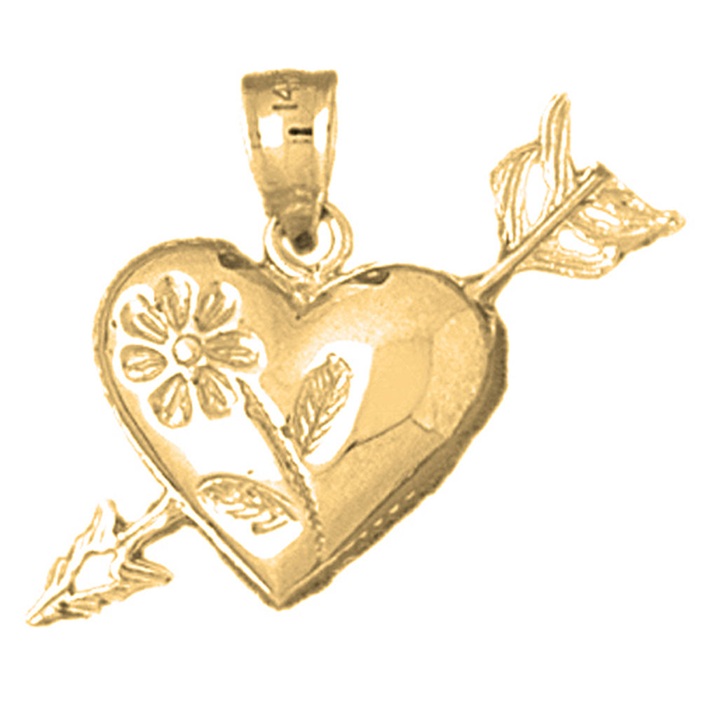 10K Yellow Gold Heart And Arrow Pendant - 21 mm