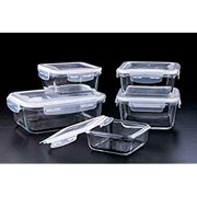 Glass Food Storage Container 10pc Set with Airtight Snap Locking Lids, Leakproof, 5 Different Portion Control Sizes, Microwave, Freezer, Dishwasher-Safe Lunch Dishes