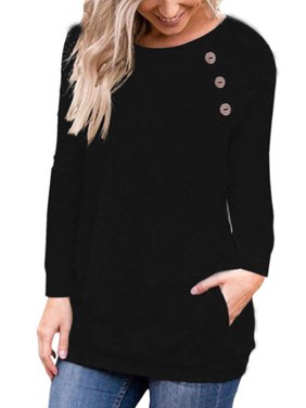 Women's Casual Long Sleeve Pullover Buttons Loose Casual Sweaters