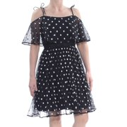 ADRIANNA PAPELL Womens Black Sheer Tie Polka Dot Short Sleeve Off Shoulder Knee Length Party Dress  Size: 4