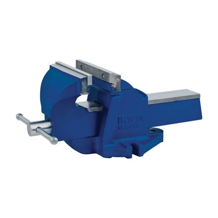Irwin 4 in. Steel Workshop Bench Vise Blue Swivel