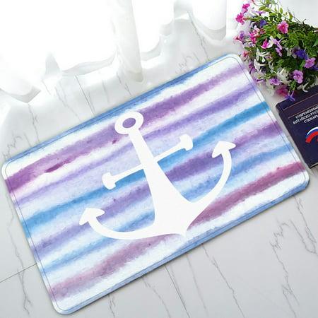 PHFZK Nautical Ocean Doormat, Anchor on Watercolor Stripes Blue Purple Striped Doormat Outdoors/Indoor Doormat Home Floor Mats Rugs Size 30x18 - Anchor Stripe