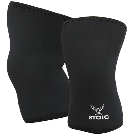 Knee Sleeves for Powerlifting - 7mm Thick Neoprene Sleeve for Bodybuilding, Weight Lifting Best for Squats, Cross Training, Strongman Professional Quality & Ultra Heavy Duty (Pair) by Stoic