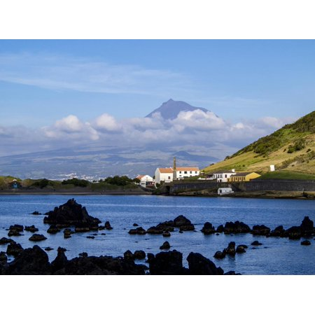 View towards Porto Pim Whaling Station and Pico Mounain, Faial Island, Azores, Portugal, Atlantic, Print Wall Art By Karol - Whaling Station