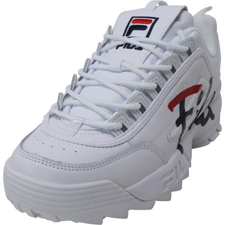 Fila Women's Disruptor Ii Script White / Navy Red Ankle-High Leather Sneaker - 9M