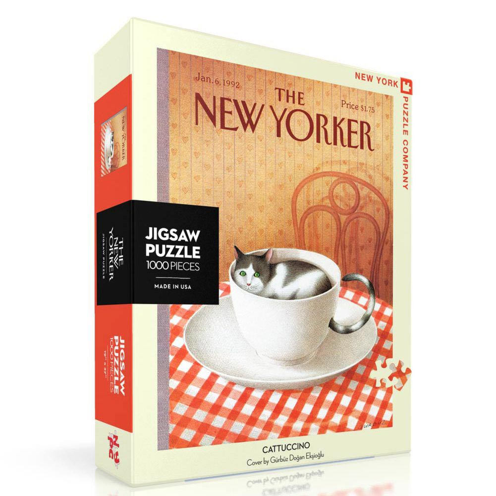 Cattucino New Yorker 1000 Piece Puzzle,  Cat Art by New York Puzzle Company