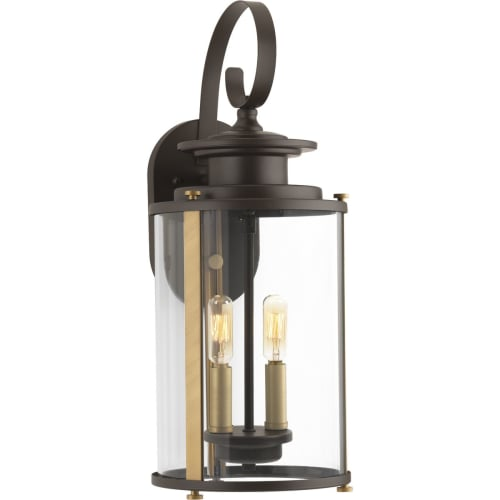 """Progress Lighting P560037 Squire 2 Light 8"""" Wide Outdoor Wall Sconce with A Clea"""