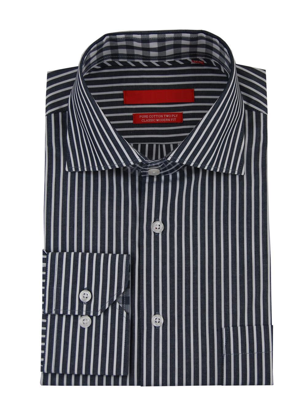 DTI GV Executive Mens Stripe Dress Shirt Cotton Spread Collar French Cuff