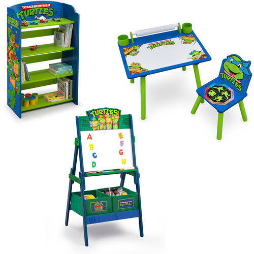 Nickelodeon Teenage Mutant Ninja Turtles Art Desk, Bookshelf, Easel Playroom Set