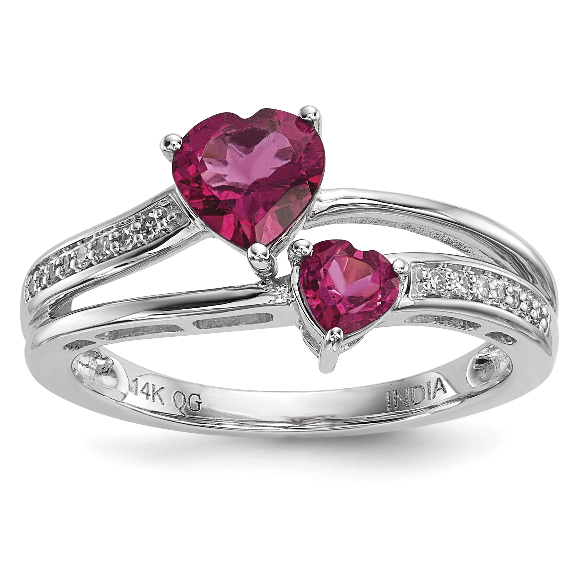 14k White Gold Diamond & Pink Tourmaline Ring Size by