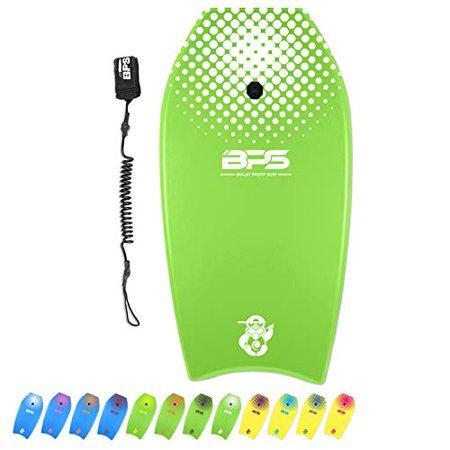 BPS 41' Shaka Bodyboard - Perform High-Speed Maneuvers Slick Bottom Body Balance - Surfing Tricks Lightweight Boogie Board - Comes with Premium Coiled Wrist Leash (Green/White)