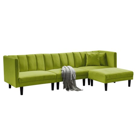 Modern Reversible Sectional Sofa Bed Set, L-Shaped Velvet Sleeper Sofa with Extra Wide Chaise Lounge, 2 Pillows, Twin size, Green