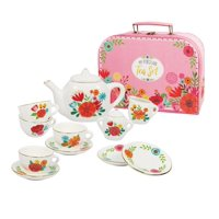 Bright Stripes Floral Porcelain Tea Set in Carry Case - Petite Size