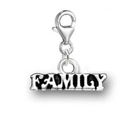 Clip on Family Dangle Pendant for European Clip on Charm Jewelry w/ Lobster Clasp Costume Jewelry Charms