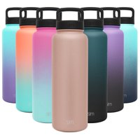 Simple Modern 40 Ounce Summit Water Bottle - Stainless Steel Liter Flask +2 Lids - Wide Mouth Tumbler Double Wall Vacuum Insulated Black Leakproof Ombre: Tuxedo