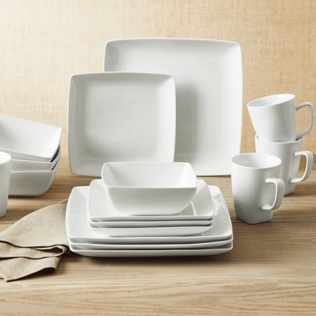 Better Homes & Gardens 16-Piece Porcelain Coupe Square Dinnerware Set