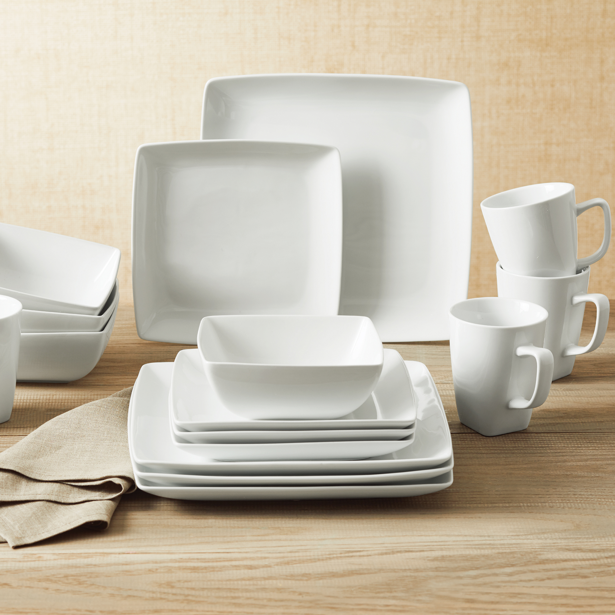 Better Homes and Gardens Loden 16-piece Porcelain Coupe Square Dinnerware Set