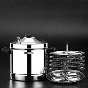 BUTTERFLY IDLI (IDLY) COOKER SET WITH 6 PLATES (RICE CAKE STEAMERS)