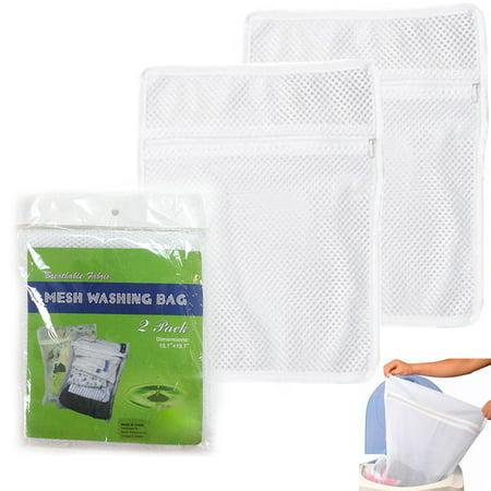 2 Mesh Stuff Bag Washing Delicates Bra Sox Beach Toys Seashells Scout Mess - Seashell Bra
