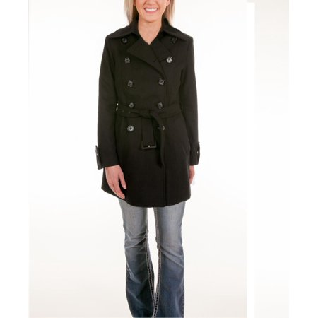 Women Trench Pea Coat Double Breasted Wool Fully Lined Color Black Missy Size 6 - 8