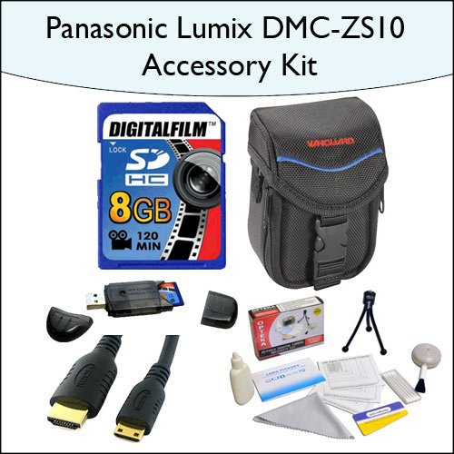 8GB Accessory Package for Panasonic DMC-ZS10 Including 8GB SDHC High Speed Memory Card, Vanguard Soft Leather... by Opteka