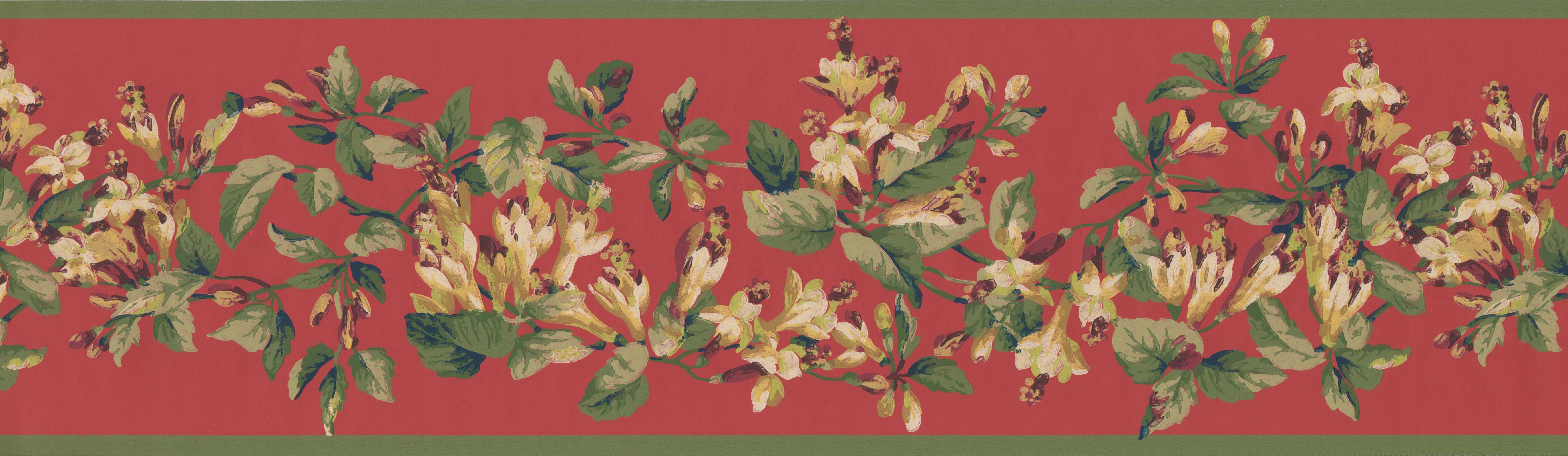 White Garnet Red Flowers On Vine Crimson Floral Wallpaper Border