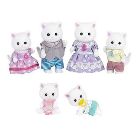 6 Different Cat Figures - Persian Cat Family and Persian Cat Twins - 2 Sets Total (Japan (Javanese Cat)