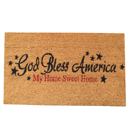 Viana Multicolored Vinyl-backed Coir 'God Bless America' Non-skid Door Mat (18 inches x 30 inches)