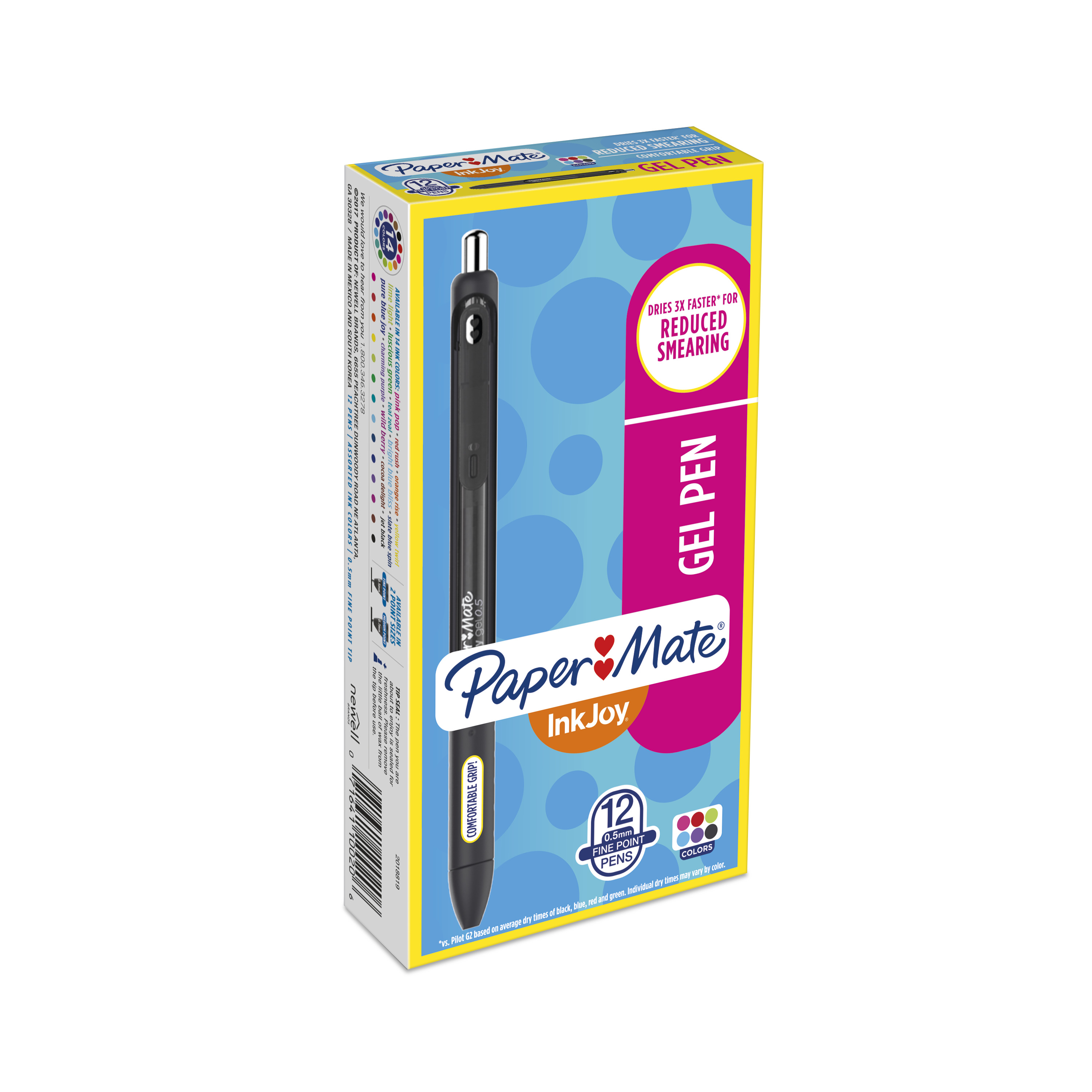 Paper Mate InkJoy Gel Pen, Fine Point, Assorted Colors, Box of 12