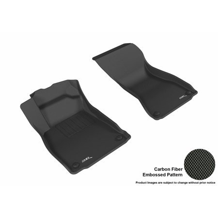 3D MAXpider 2017-2017 Audi A4 Front Row All Weather Floor Mats in Black with Carbon Fiber Look (Audi Front Floor Mat)