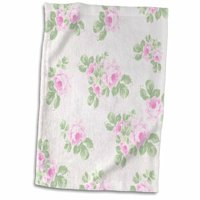 3dRose Vintage pink roses pattern - rose flowers on light cream damask - shabby chic Sun-Faded look floral - Towel, 15 by 22-inch