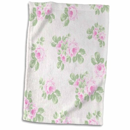 3dRose Vintage pink roses pattern - rose flowers on light cream damask - shabby chic Sun-Faded look floral - Towel, 15 by (Whamisa Organic Flowers Damask Rose Petal Mist)