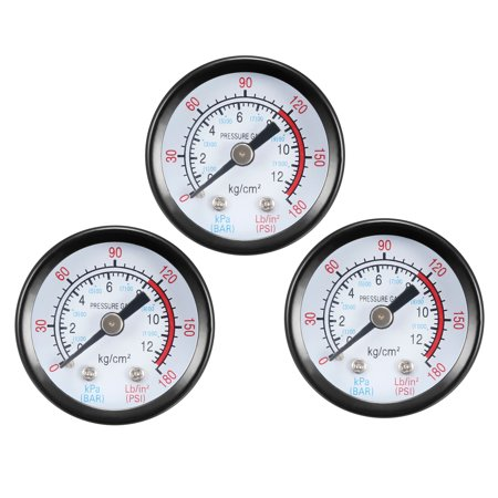 "Dry Pressure Gauge, 0-180 PSI/0-20 BAR Dual Scale , 1.4"" Dial , 1/4"" NPT Male Center Back Mount 3pcs"