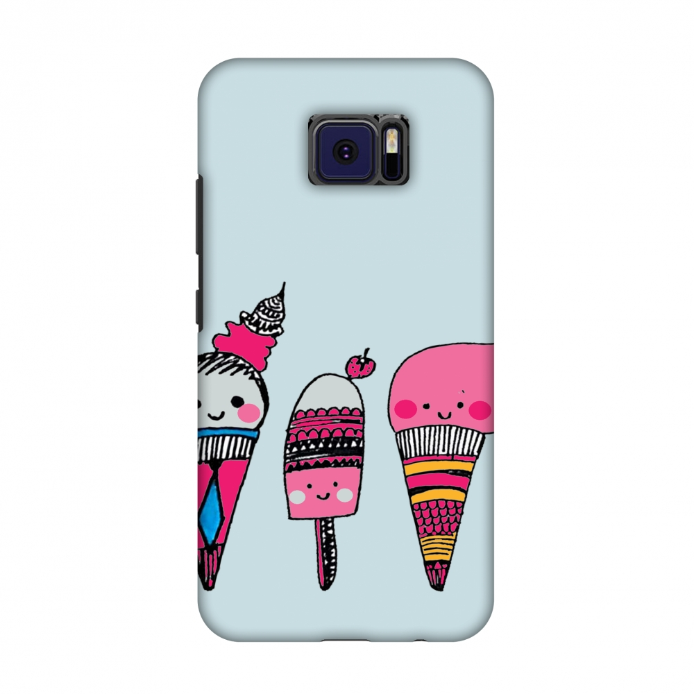 Asus ZenFone V V520KL Case - Ice Creams- Pale blue, Hard Plastic Back Cover, Slim Profile Cute Printed Designer Snap on Case with Screen Cleaning Kit