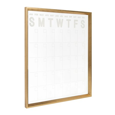 Kate and Laurel Calter Wall Calendar, Large Framed Erasable Month-at-a-Glance Planner with Clear Acrylic Surface, Gold 25.5 x 31.5 Inches