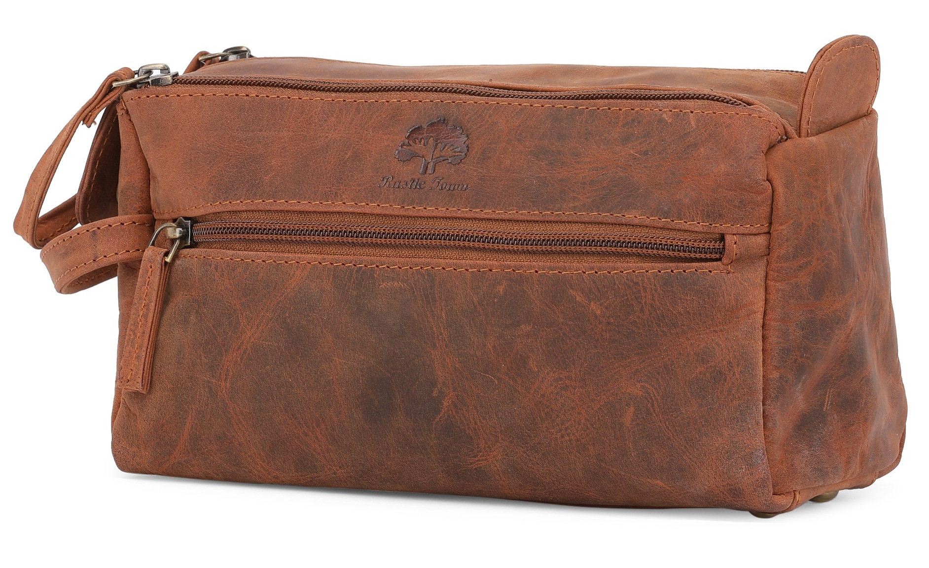 614a2ea99944 Leather Toiletry Bag for Men - Hygiene Organizer Travel Dopp Kit By Rustic  Town (Brown)