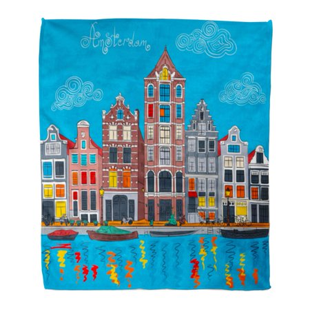 SIDONKU 58x80 inch Super Soft Throw Blanket City View of Amsterdam Canal Typical Dutch Houses and Boats Holland Netherlands Home Decorative Flannel Velvet Plush Blanket