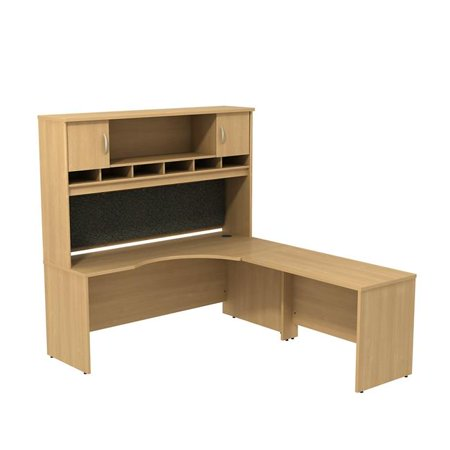 Bush Business Furniture SRC002LOR Series C Right Handed Corner L-Shaped Desk with Hutch - Light