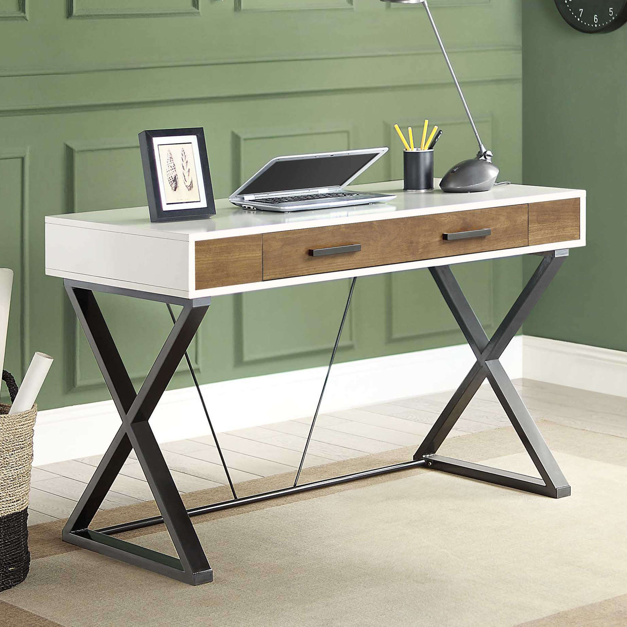 Whalen Samford Contemporary Computer Desk with pull-out keyboard tray, White