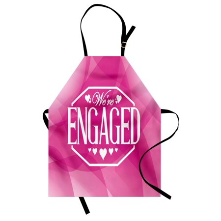 Engagement Party Apron Abstract Celebration Geometric Backdrop Engagement Party Image, Unisex Kitchen Bib Apron with Adjustable Neck for Cooking Baking Gardening, Hot Pink and White, by Ambesonne