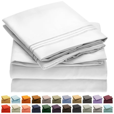 Mellanni Bed Sheet Set, Brushed Microfiber 1800 Bedding Collection - Wrinkle, Fade, Stain Resistant, Queen, White, 4 Pieces