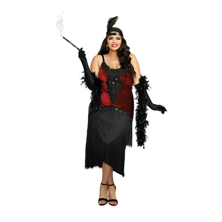 Million Dollar Baby Halloween Costumes (Dreamgirl Women's Luxe Plus-Size Million Dollar Baby Flapper Costume)