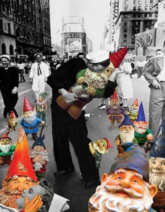Barry Kite Stretched Canvas Art Garden Gnomes VJ Day Small 11 x 14 inch Wall Artwork Decor Size. by Image Conscious