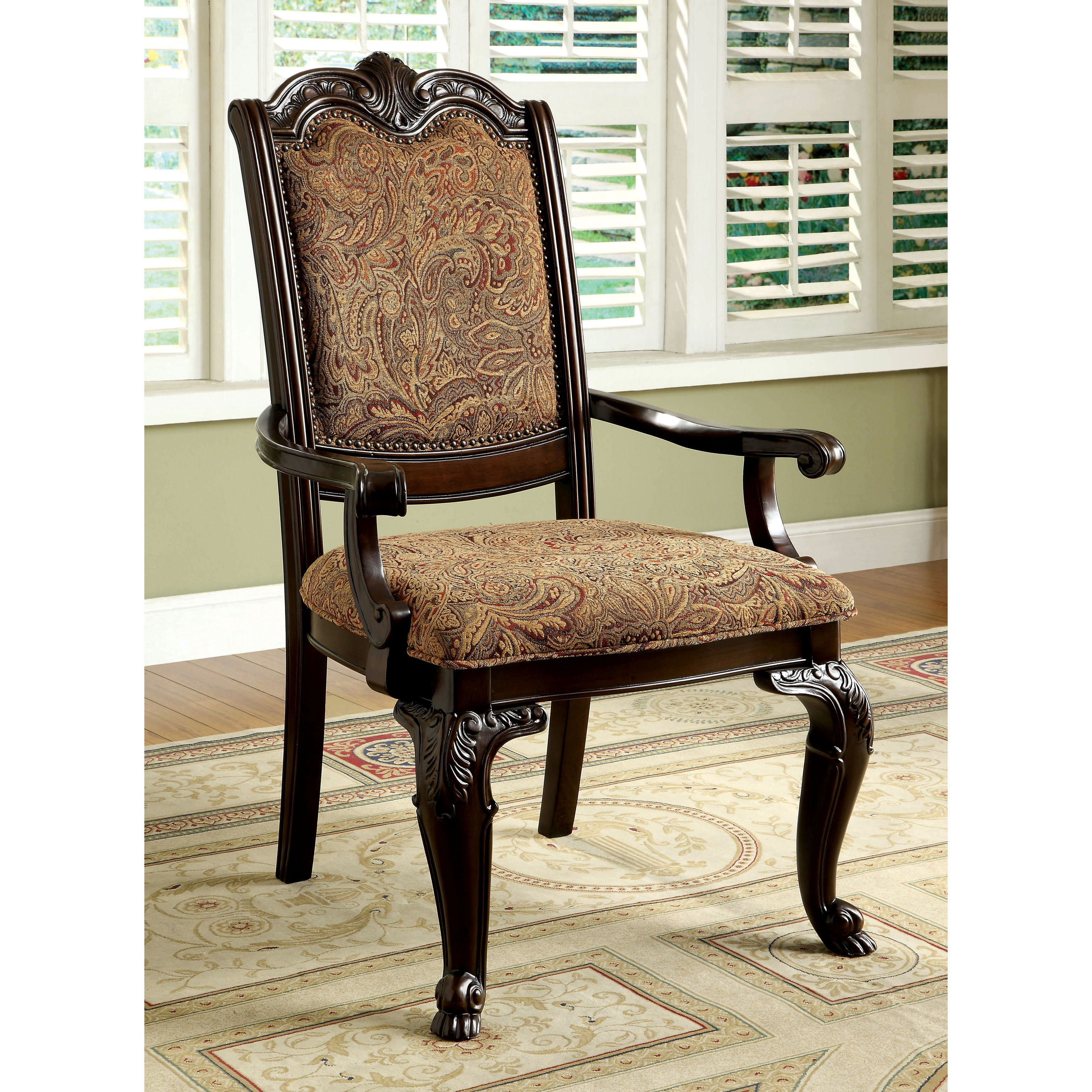 Furniture of America Bershire Fabric Padded Dining Armchairs Set of 2 by Enitial Lab