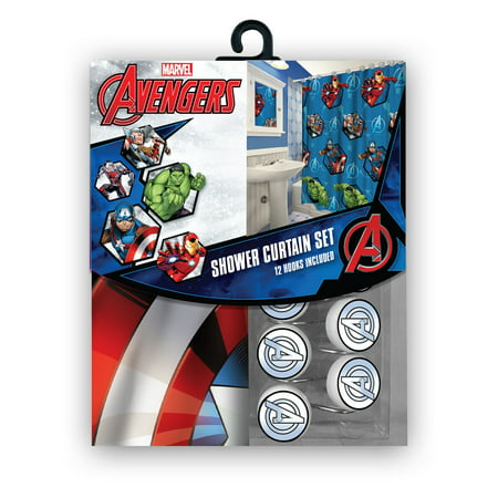 All New Fabric Marvel Shower Curtain Set with 12 Matching Hooks - Marvel Shower Curtain