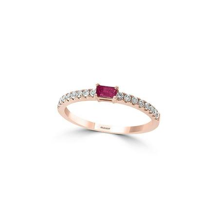14K Rose Gold, 0.17 TCW Diamond & Ruby Basket-Style Ring (Diamond Jewelry Rings)