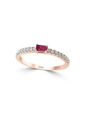 14K Rose Gold, 0.17 TCW Diamond & Ruby Basket-Style Ring