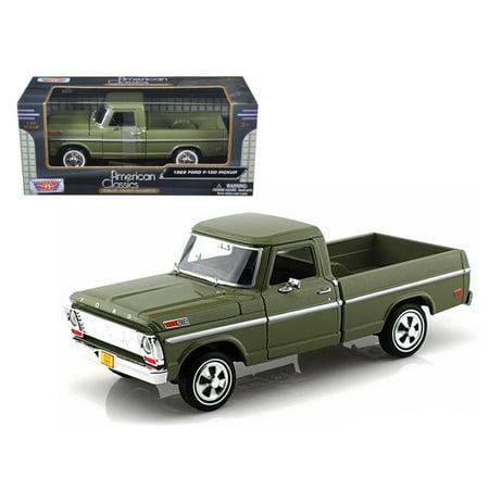 Green Ford Diecast Pickup (1969 Ford F-100 Pickup Truck Green 1/24 Diecast Car Model by Motormax)