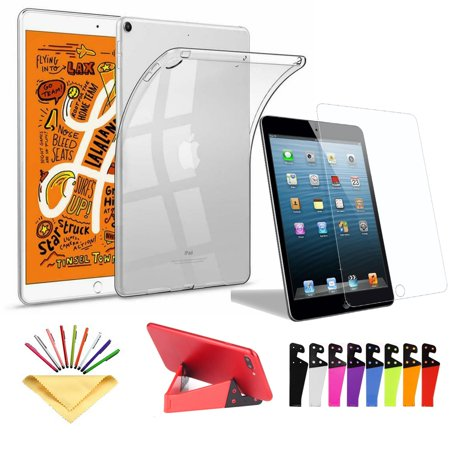 Ultra Lightweight Soft Rubber Clear Transparent Case Cover With a Phone/Tablet Stand and Tempered Glass Screen Protector For iPad mini 4 (L S3 Mini)