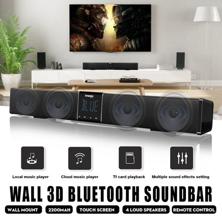 Rca Wireless Stereo Speaker (SMALODY Powerful LED Touch Screen TV Soundbar Stereo Bluetooth Wireless Sound Bar Surround Stereo Home Theater Speaker Subwoofer Wall Hanging/Flat+Remote TF AUX For PC Desktop )